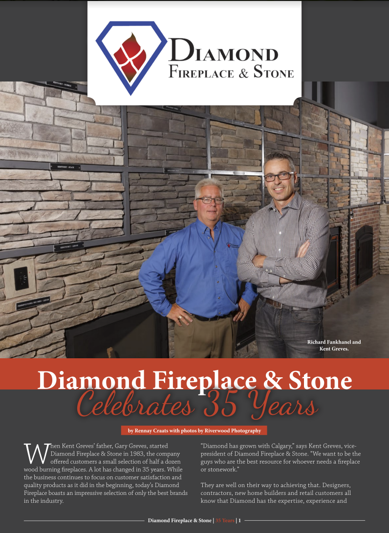 Diamond Fireplace Featured In Business In Calgary Issu Magazine